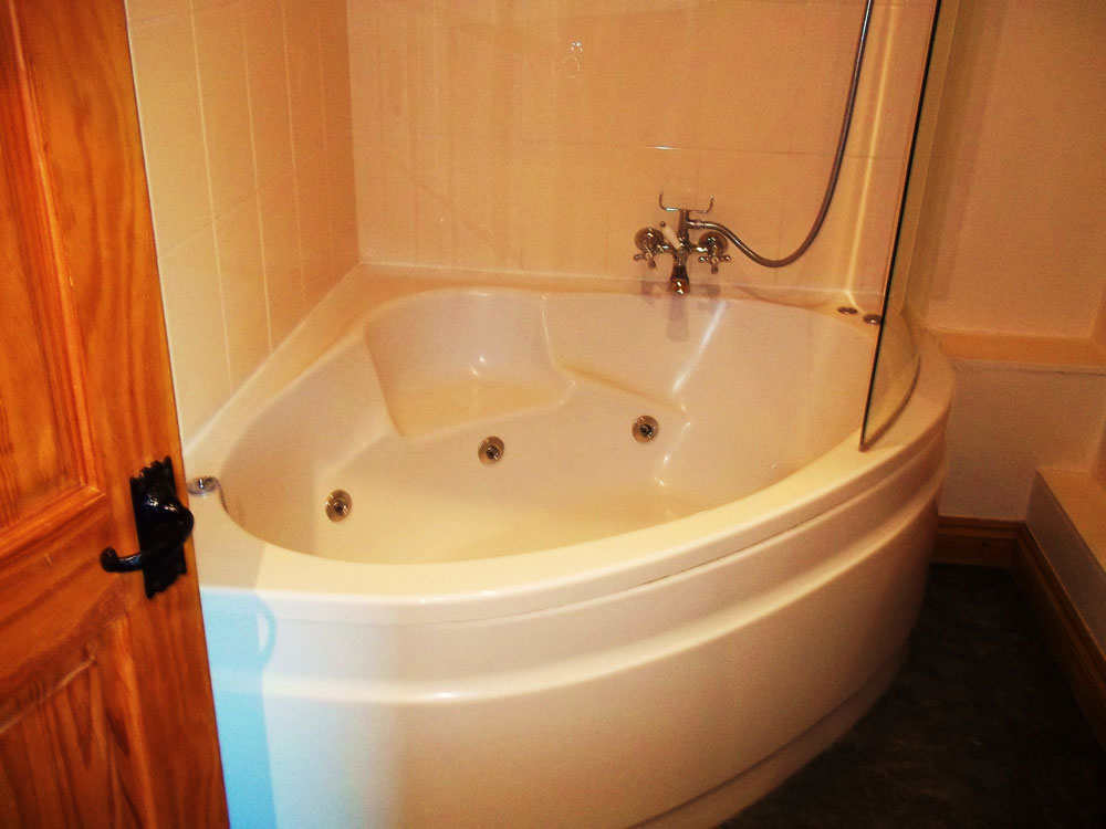 Open Plan Living Area Corner Whirlpool Bath With A Shower Over
